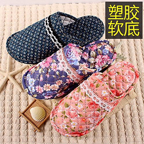 Stay home slippers indoor wooden floor bedroom has a non-slip Baotou autumn  and winter warm cotton small flower soft bottom cotton slippers female, male  and ...