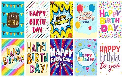 Greetingles Geburtstagskarten mit Umschlägen, 20Stück, mit großem Buchstaben-Design, mit der Aufschrift