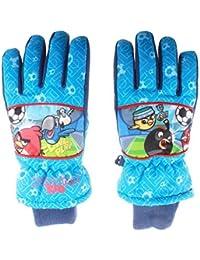 Guantes de esquí para niño, diseño de Angry birds-Rio azul 7 y ocho años.