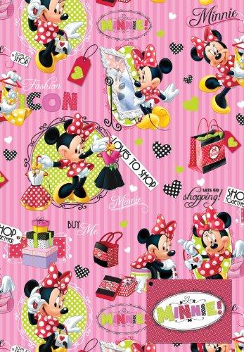 Disney Minnie 2x Blatt Geschenkpapier und 2x Geschenkanhänger