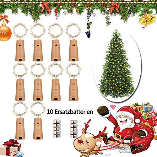 LED Flaschen-Licht 20 LEDs 2M Kupferdraht Lichterkette Weinflasche Lichter mit Kork korken Kupferdraht Nacht Licht Hochzeit Party romantische Deko 10pcs Kostenlos Batterien als Geschenk,warm ()