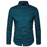 AIYINO Herren Bedruckte Hemd Langarm Baumwolle Freizeit Slim Fit (X-Large, 17-Grün)