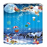 Omiky® Christmas Shower Curtain and 12pcs C-Type Hooks,Waterproof Mouldproof Durable Thickened Polyester Bathroom Curtain with Xmas Tree Snowman Crystal Ball Elk Sleigh Car (Pattern H)