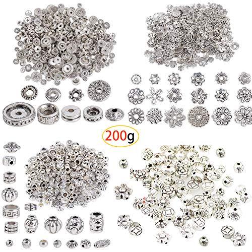 Caili accessori pendenti in argento tibetano,perline distanziali in lega stile tibetano per gioielli fai da te,accessori per gioielli vintage fai-da-te(4 pacchetti, 200 g)