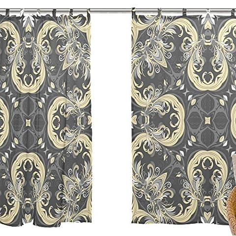 jstel Lot de 2voile rideau fenêtre, motif ethnique Art, en tulle Transparent Rideau Drapé Lit 139,7x 198,1cm deux panneaux de