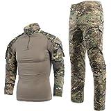 Chemise de Combat Militaire Homme Pantalon Tactique Airsoft Shirt Tenues de Combat Uniforme à Manches Longues & Pantalon Pain