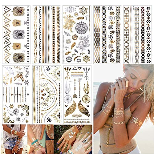 EQLEF Temporäre Metallic Tattoos Aufkleber, 8 Sheets Shiny Körper Gefälschte Schmuck Tattoos Für Frauen Teens Mädchen Gold und Silber Schmuck Tattoos Viele Schöne Motive