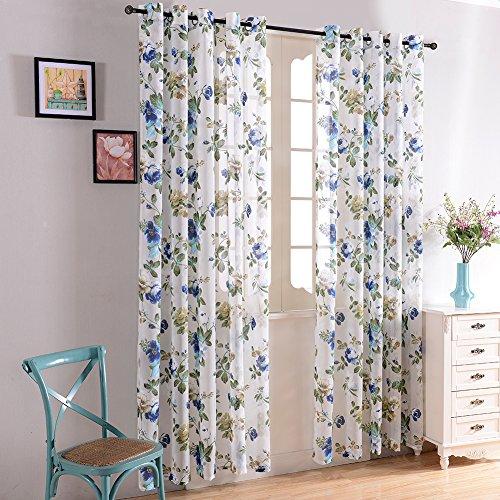 Top Finel transparente Blumen Muster Schlaufenschal Gardine aus Voile mit Ring f¨¹r wohnzimmer,140x245, Blau ein St¨¹ck
