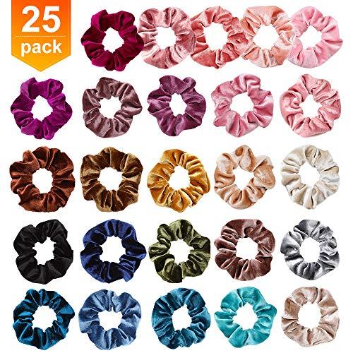 25 Stücke Hotrose Scrunchies Samt Haargummis Bunte Elastische Haarbänder für Mädchen Damen Pferdeschwanz Haaschmuck Gummibänder Haaschmuck