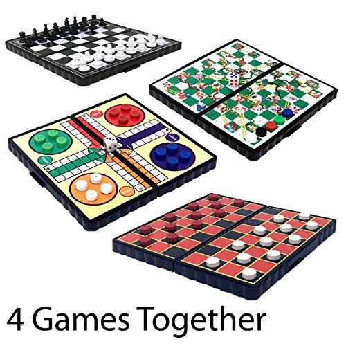 Reise Spiel magnetisch von laeto Toys und Spiele enthalten Ludo Schach Schlangen & Leitern Checkers oder Zugluft ideal für Kinder oder Erwachsene auf Flugzeugen, Scheibe Urlaub