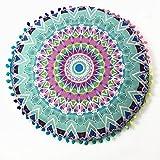 LuckyGirls Kissenbezug 43 x 43 cm Indische Mandala Boden runde böhmische Kissen Abdeckung Pillow Cover (Grün)