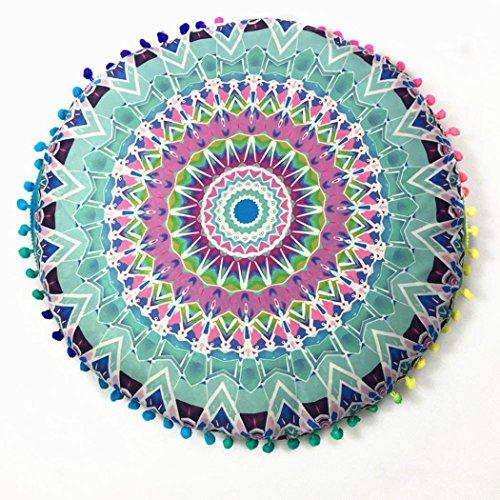 LuckyGirls Kissenbezug 43 x 43 cm Indische Mandala Boden runde böhmische Kissen Abdeckung Pillow Cover (Grün) -