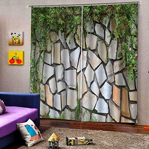 3D Vorhang Wärmeisolierte Steinmauer Grüne Rebe Balkon Thermoisoliert Verdunkelungsvorhang Moderne Einfache Installation Geeignet Für Wohnzimmer Schlafzimmer Jedes Fenster 2 Stück 150X166 Cm(Wxh)