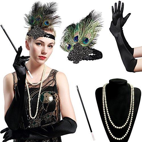 BABEYOND Ensemble d'accessoires de costume Gatsby des années 1920 pour femmes, y compris les gants en crochet pour bandeau Porte-cigarette (Set-1)