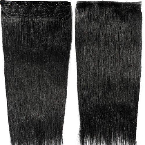 Clip in Extensions Echthaar - Remy Echthaar Haarteil 1 Tresse mit 5 clips Haarverlängerung 55cm-100g (#1 Schwarz)