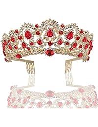 ZANHUI Splendido Rosso Verde Strass Tiara Corona Squisito Fascia Pettine  Pin Matrimonio Nuziale Diademi Di 7e9b693e8e05