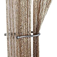tangpan cifrado purpurina plano de cuerdas para puerta cortina de cuentas borla de panel, tela, champán, 100 x 200 cm