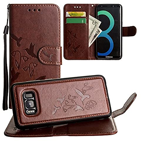 CellularOutfitter Samsung Galaxy S8 Wallet Case - Embossed Hummingbird Design w/ Matching Detachable Case and Wristlet - Brown