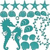 GRAZDesign 300168_57x57_WT054 Wandtattoo Muscheln für Bad | Selbstklebende Klebe-Folie für Wände - Fliesen - Spiegel | Wand-Aufkleber als Set mit 20 unterschiedlichen Seesternen -Seepferdchen (57x57cm // 054 türkis)