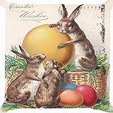 Cushion Cover Throw Pillow Case 18 inch Retro Vintage Easter Bunny Rabbit Candy Eggs Basket Flower Garden Joyful Celebration Both Sides Image Zipper