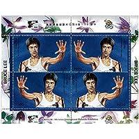 Bruce Lee con la mano alzata lotta pose - Mint e timbro minifoglio (Francobolli Fu)