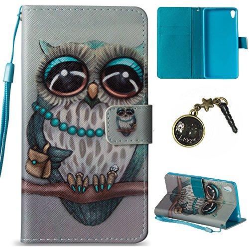 für Smartphone Sony Xperia E5 Hülle, Klappetui Flip Cover Tasche Leder [Kartenfächer] Schutzhülle Lederbrieftasche Executive Design +Staubstecker (12II)