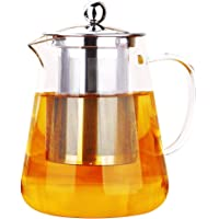 ONEISALL Heat Resistant Borosilicate Clear Glass Teapot wih Stainless Steel Infuser, Flower Tea Coffee Pot, Induction…