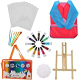 Artibetter 27 Unids Niños Kit de Herramientas de Pintura Acuarela Pincel Paleta Dibujo Smock Caballete DIY Arte Pintura Acces
