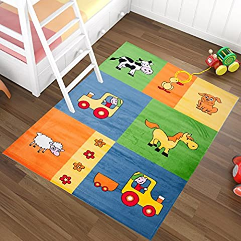 Rugs For Kids - CHILDREN COLLECTION - Blue Farm Animals Pattern - Soft And Thick Carpet - Easy To Clean - Best Price And Quality Offer 120 x 170 cm (4ft x 5ft6