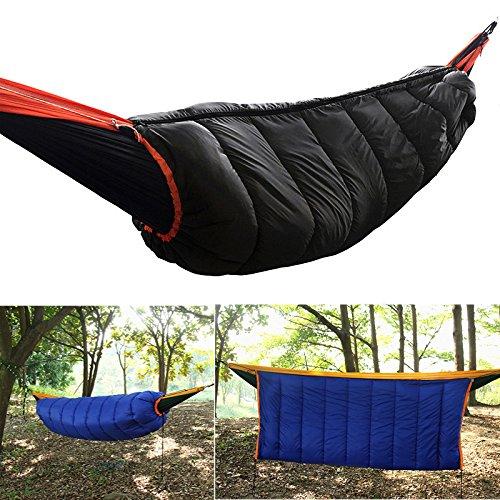 Preisvergleich Produktbild LaDicha 2 In 1 Outdoor Winddicht Hängematte Schlafsack Eingehüllt Baumwolle Warm Hängend Schaukelbett - Schwarz