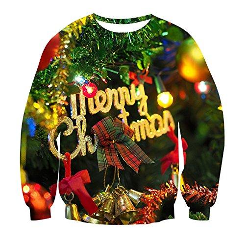 n Pullover Unisex Muerte 3D Druck Merry Christmas Langarm Kostüm Grün XXL (La Muerte Kostüme)