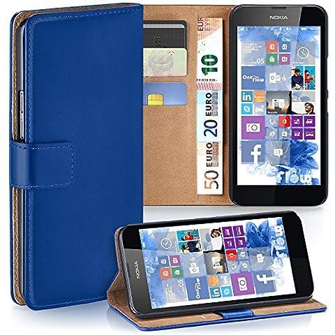 Nokia Lumia 630 Hülle Blau mit Kartenfach [OneFlow Wallet Cover] Handytasche Flip-Case Handyhülle Etui Kunst-Leder Tasche für Nokia Lumia 630/635 Dual SIM Case Book