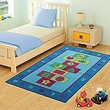 FunkyBuys ® per bambini BLUE HOPSCOTCH-Tappeto Design moderno Tappeto gioco Tappetino antiscivolo, 3 misure miglior prezzo, 100% poliammide/poliammide, blu, 100cm x 133cm