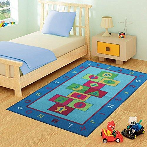 FunkyBuysÃ'® Kids Childrens BLUE HOPSCOTCH (100 x 165cm) Rug Mat Modern Design Play Mat Nursery Rugs Non Slip - 3 Sizes Best Price by FunkyBuys