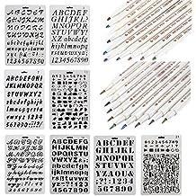 nouvelife–Lote de 28plantilla–Número y Letter reutilizable Flexible majuscule Minuscule carácter de 1a 3cm marcador metálico punta 1mm 1,2mm 10Colores para Manualidades Tarjeta de cumpleaños Decoración de pared