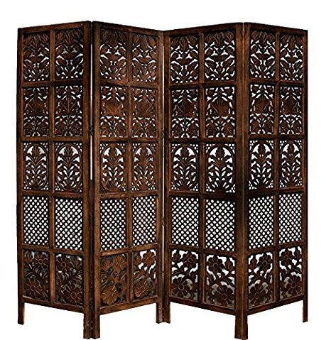 Aarsun-Room-Divider-Home-Office-Partition-Screen-in-Mango-4-Panel-Foldable-Extendable-Antique-Burnt-Wood-finish-New-Year-Sale-for-Office