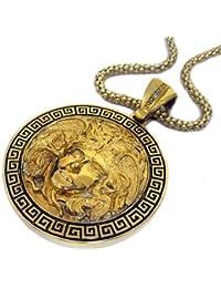 Cabeza Medusa 24k Chapado En Oro Colgante & hiphop bling cadena