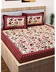 Story@Home Pearl Jaipuri Traditional Collection 120 TC Cotton 1 Double Bedsheet and 2 Pillow Cover - Floral