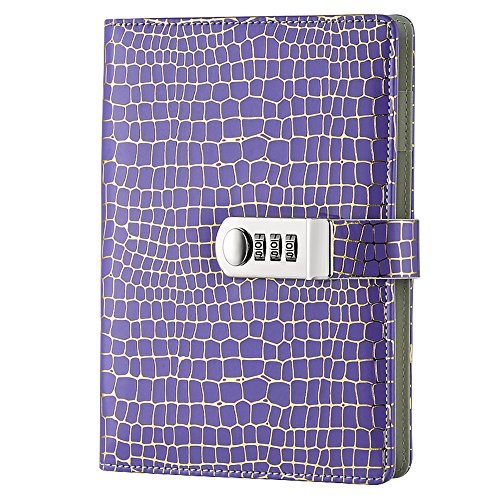 Nainaiwu PU Leather Journal Notebook A5 Size Professional Business Notebook Diary Book with Lock Writing Notepad for School, Office (Purple)