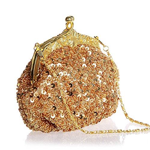 Flada Girls und Womens Handtaschen Handtasche Handmade Beaded Abend Clutches PROM Wedding Party Green Gold