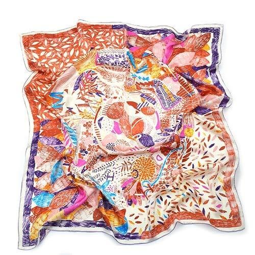 LYDHWK Echt Seidenschal Frauen Nepal Vögel Graffiti Foulards Beste Qualität Hand gerollte Large Foulard Femme Bandana 110cmPurple -
