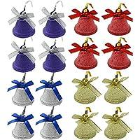 com-four® 16x Juego de Campanas de Metal, como decoración para Navidad y Regalos. (16 Piezas - Mezcla)