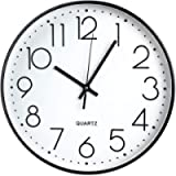TOHOOYO Wall Clock, 12 ''Non-ticking Silent Quartz Decorative Clocks, Modern Large Number Round Clock (Black)