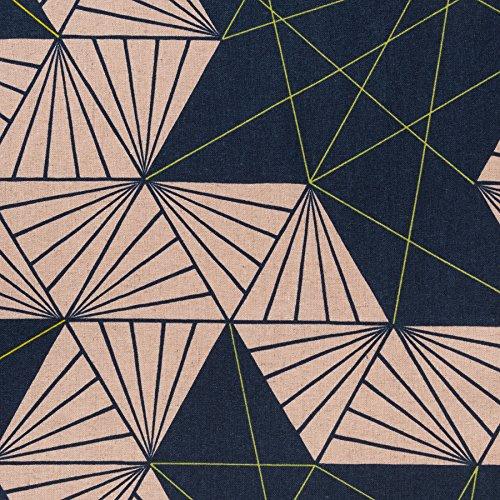 MIRABLAU DESIGN Stoffverkauf Baumwolle Canvas bedruckt mit grafischen Dreiecken in dunkelblau, rosa und neon gelb (4-238M), 0,5m -