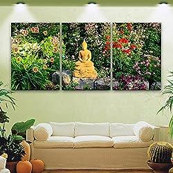 Reloj de pared de flores de Buda Sin marco Art sala restaurante decoración Lienzo pintado reloj de pared , 28*40