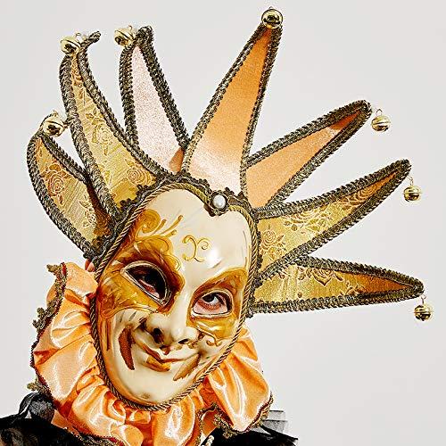 Joker Kostüm Venedig - YUFENG Vintage Jolly Joker venezianischen Masquerade Maske Kostüm Halloween Cosplay Maske für Party, Ball Ball, Mardi Gras, Hochzeit, Wandschmuck gelb
