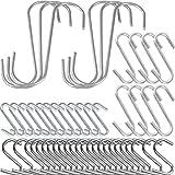 COM-FOUR® 50x S Haken Küchenhaken Haken S Formhaken im Edelstahl-Design, verschiedene Größen (50 Stück)