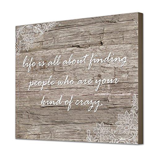 """Wunderschöne und einzigartige 30x 20Kunstdruck auf Leinwand Arbeit mit Cute Love Zitat """"Ihre Art von Crazy auf einem schönen Vintage Style Holz Hintergrund, Kunstdruck auf einem Aluminium-Probar Rahmen"""