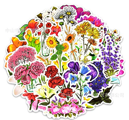 Frühlings-Blüten-Blumen-Blüten-Element-Graffiti-Aufkleber-Auto-Koffer-Laptop-Gitarren-Aufkleber 50 Blätter - Blumen-graffiti