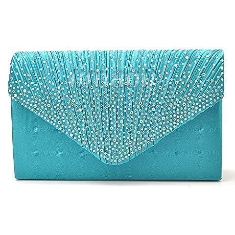 Wocharm Womens Ladies Diamante Envelope Clutch Bag Girly Satin Evening Bag Bridal Wedding Bag Handbag Fashion Prom Clutch (Teal blue)